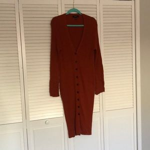 2X forever 21 orange knit sweater midi dress